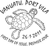 Vanuatu Post Turtles Stamps first Date